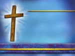 Christ Crucified – Cross at Center - cross left side blue background